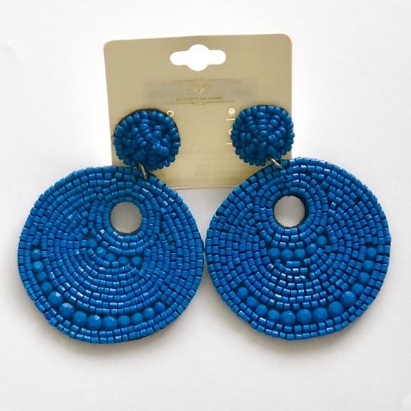 Jewelry - Hand Beaded Blue Circular Earrings